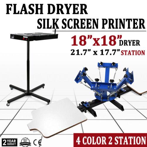Full 4 Color 2 Station Silk Screen Printing Machine Press Fl