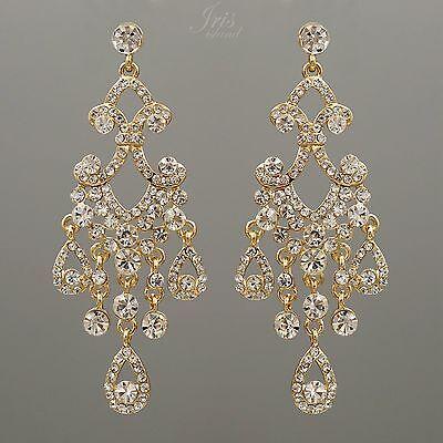 Chandelier earringsebay 1 18k gold plated gp clear crystal wedding drop dangle chandelier earrings 00165 mozeypictures Gallery