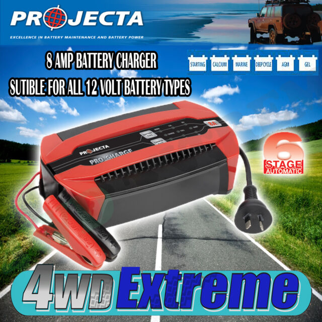 PROJECTA PC800 12 VOLT 8AMP BATTERY CHARGER 6 STAGE AUTOMATIC GEL AGM SLA 12V