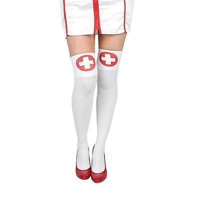 Damen Sexy Krankenschwester Halt Ups Kreuz Weiß Rot Ungezogen Kostüm Zubehör - Rot Kreuz Krankenschwester Kostüm