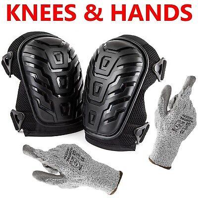 - Cut Resistant Gloves + Professional Knee Pads Heavy Duty Foam Padding & Cushion