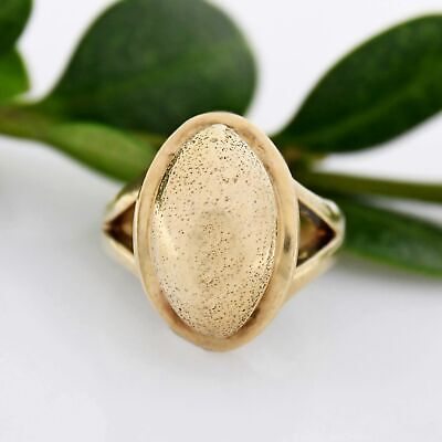 10k Yellow Gold Estate Textured Dome Ring Size 4