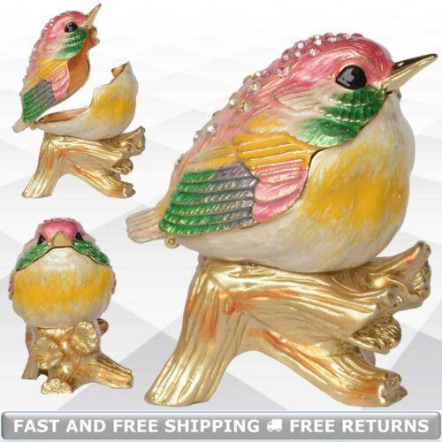 Robin Bird Trinket Jewelry Box With Hinged Lid Enamel Jeweled Crystals Keepsake