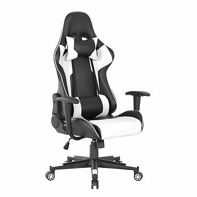 Sedia Poltrona Racing Gaming Ufficio Reclinabile 90-180° Sedia Nero&Bianca