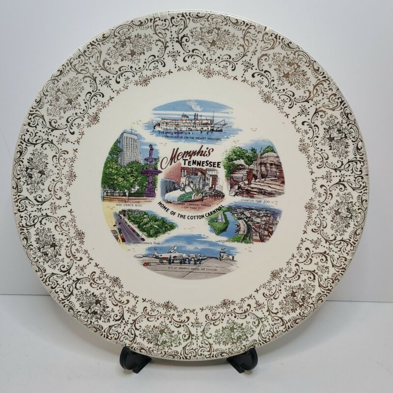 Vintage Memphis Tennessee Souvenir Plate Wall Decor Collectable Landmarks