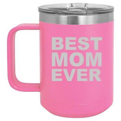 15oz Tumbler Coffee Mug Handle & Lid Travel Cup Vacuum Insulated Best Mom