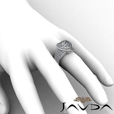 2.5 ct Halo Pave 14k White Gold Heart Diamond Engagement Bridal Ring I SI1 GIA 5