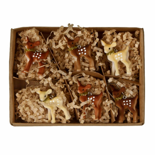 Set/6 Bethany Lowe Brown Deer Fawn Christmas Tree Ornaments Retro Vntg Decor