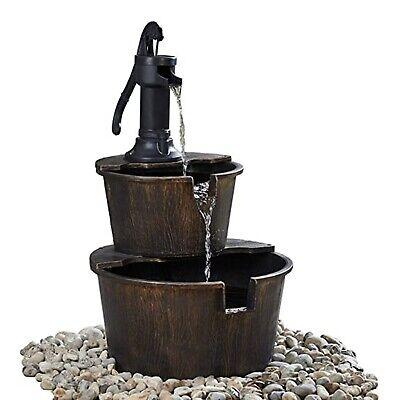 2-Tier Wooden Effect Barrel With Pump Cascading Water Fountain Garden Feature
