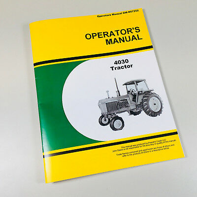 Operators Manual For John Deere 4030 Tractor Owners Maintenance