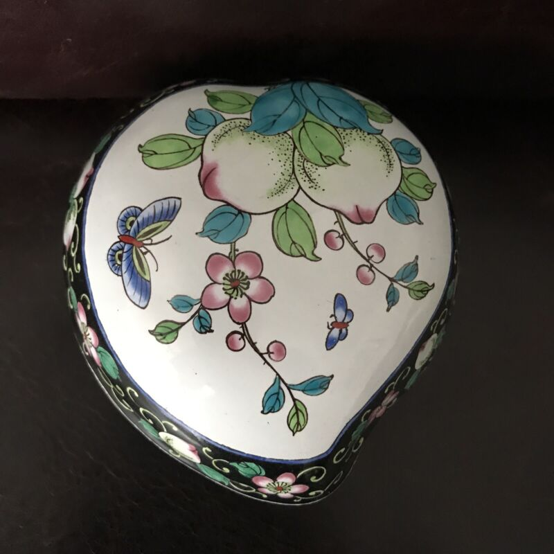 Beautiful Chinese Hand Painted Enamel Box Shaped Like a Peach Excellent