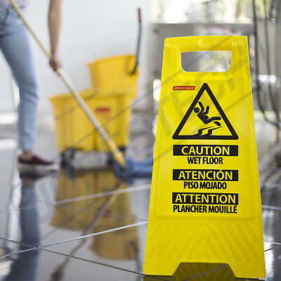 Caution Wet Floor- Folding Safety Sign Slippery Warning Bright 2 Sided Jorestech