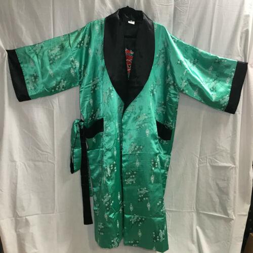 Kimono Robe Green Asian Floral Pattern Size XL Dragon Inside BEAUTIFUL