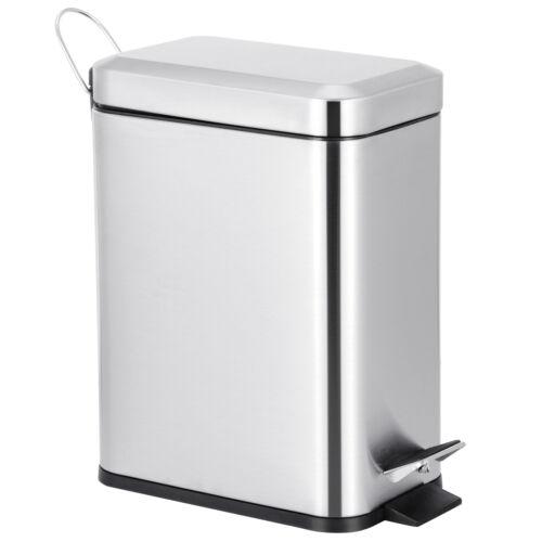 1.3 Gallon Rectangular Small Steel Step Trash Can Wastebasket Garbage Bin Silver General Household Supplies