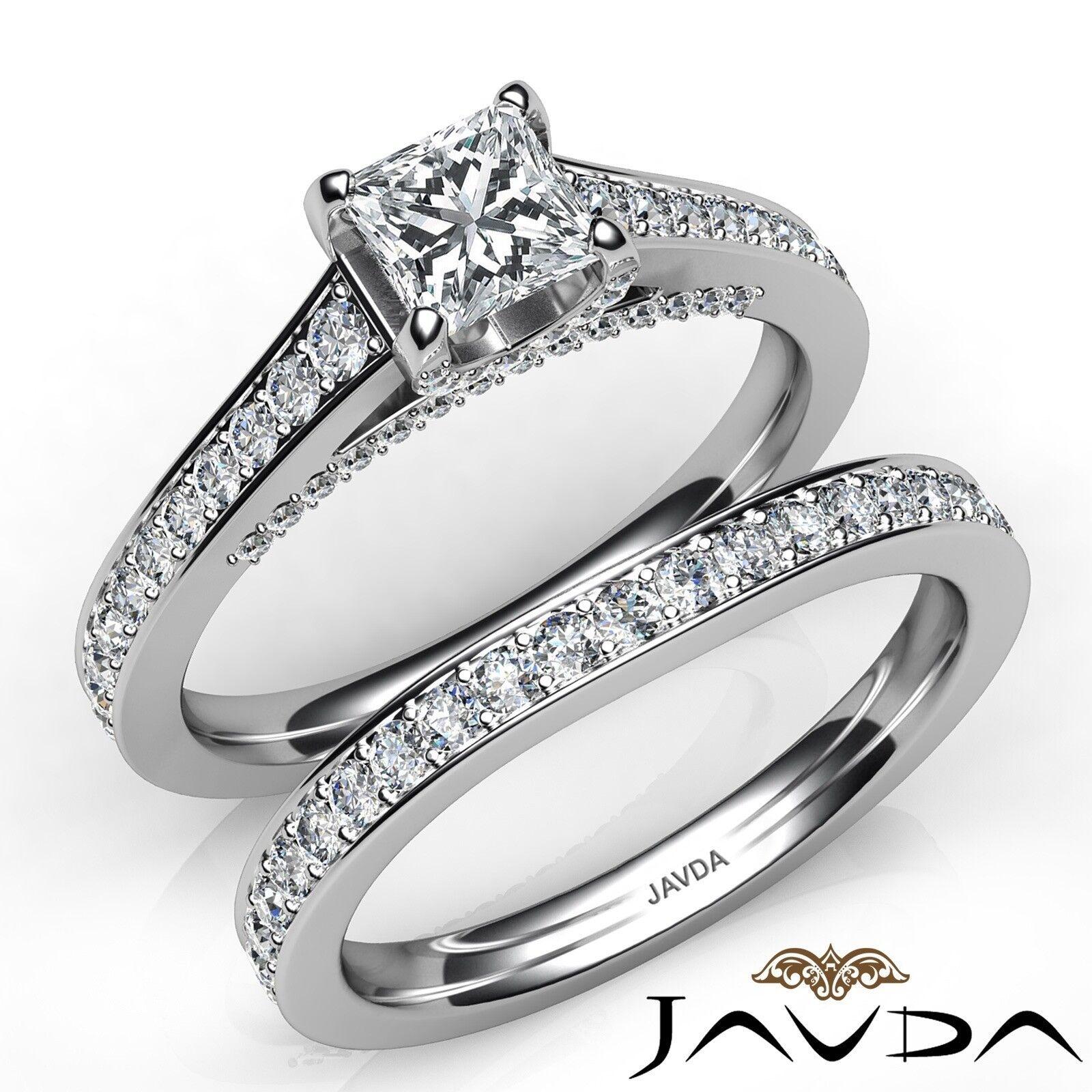 1.75ct Accent Bridge Pave Bridal Princess Diamond Engagement Ring GIA F-VS1 Gold