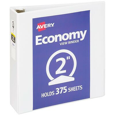 Avery 2 Economy View 3 Ring Binder Round Ring Holds 8.5 X 11 Paper 1 Wh...