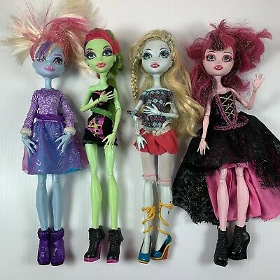 Monster High Doll Lot Of 4 Dolls With Full Clothes And Accessories