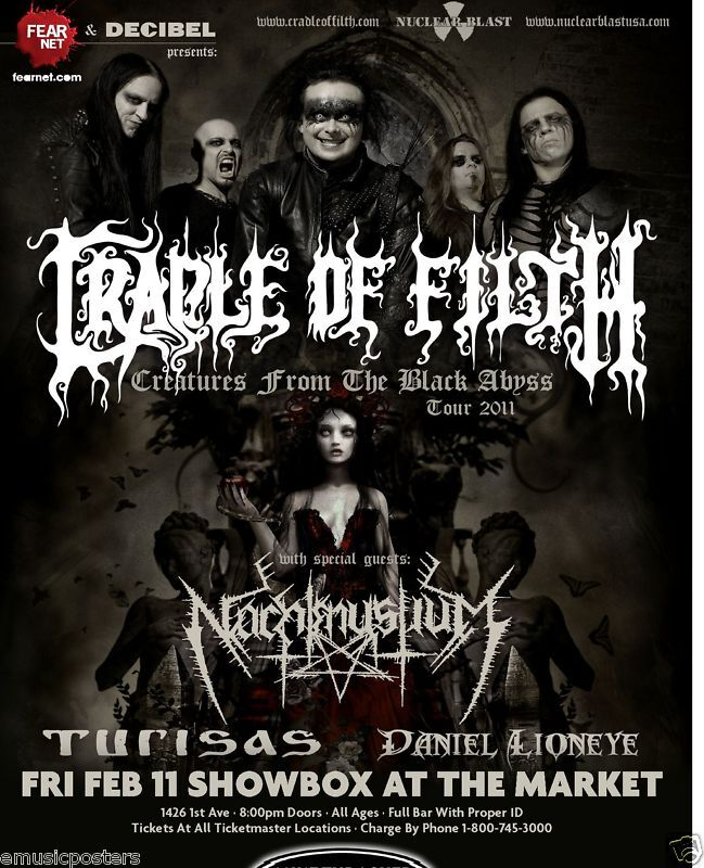 CRADLE OF FILTH 2011 SEATTLE CONCERT TOUR POSTER