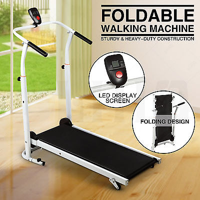 Folding Manual Treadmill Walking Machine Cardio Fitness Running Incline Workout
