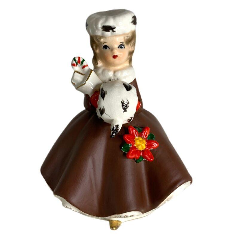 "Vintage Napcoware Christmas Holiday Lady Figurine Planter 6"" Tall #X6542 Japan"