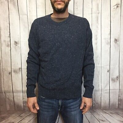 J.Crew Marled Blue Wool Blend Sweater Mens XL Suede Elbow Patches Crewneck
