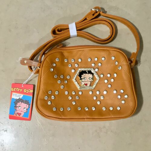 Betty Boop Brown Faux Leather Bling Handbag Shoulder Bag Purse