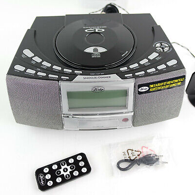 Clock Radio Dual Alarm CD Player AM FM Stereo USB SD Card Slot Remote Control