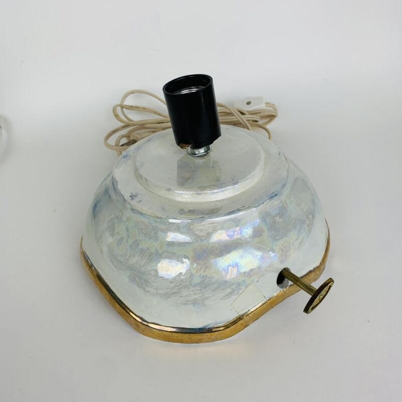 Vintage Ceramic Christmas Tree Base Only Byron Molds Iridescent Gold Musical