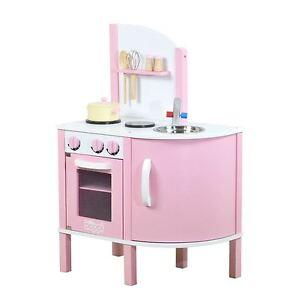 Childrens Girls Pink Wooden Toy Kitchen with 5 piece Accessories Pretend Set