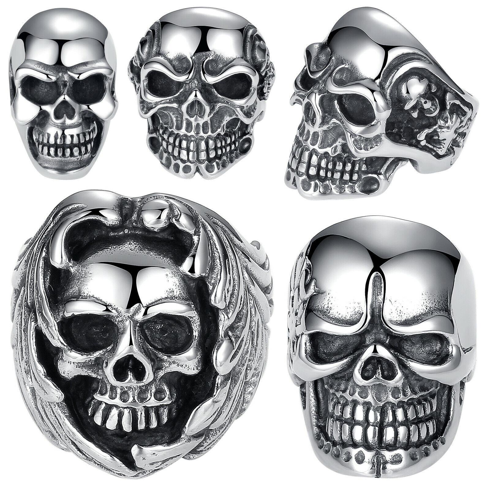 Men's Stainless Steel Gothic Halloween Biker Skull Ring (Size 7 – 12, US Seller) Jewelry & Watches