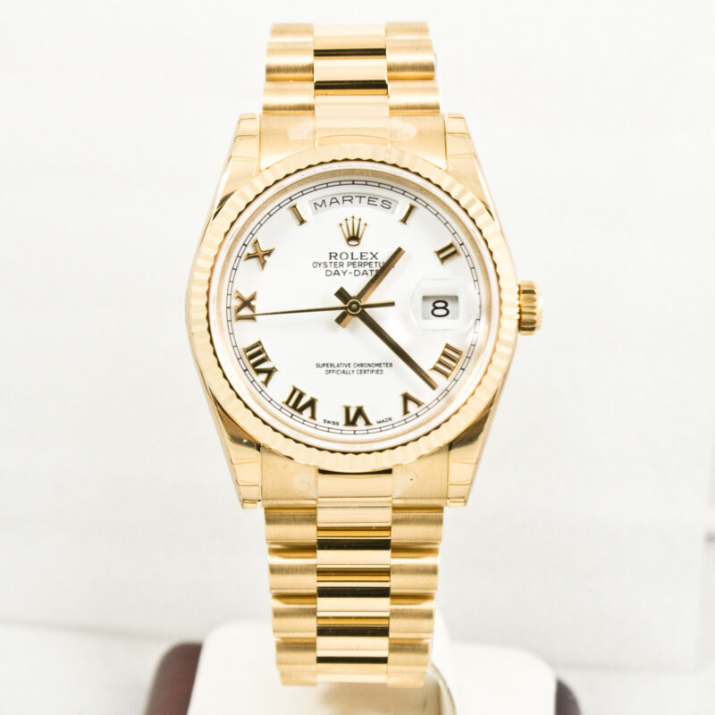 Unused Rolex Mens President 118238 18k Gold Watch White Roman Dial Gold Bezel