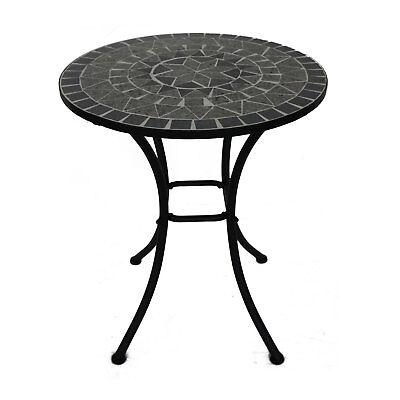 Mosaiktisch rund Balkontisch mit Keramik Mosaik schwarz grau Gartentisch 60 cm