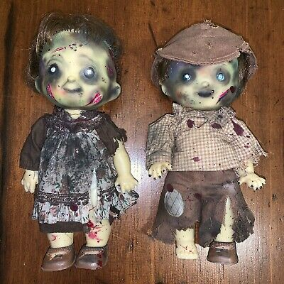 Pair Of Homemade Zombie Doll Couple Boy & Girl Halloween Living Dead Dolls OOK
