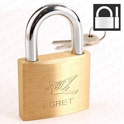 SOLID BRASS PADLOCK Keyed Alike Large 60mm Lock + 3 Security Keys Shed/Gate/Door