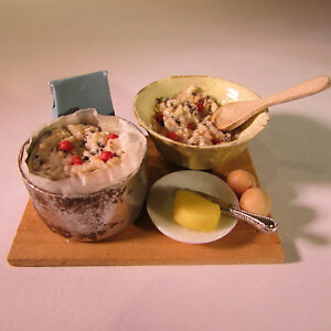 Fruit-cake-baking-ingredients-on-board-Dollhouse-miniature-food-12th-scale