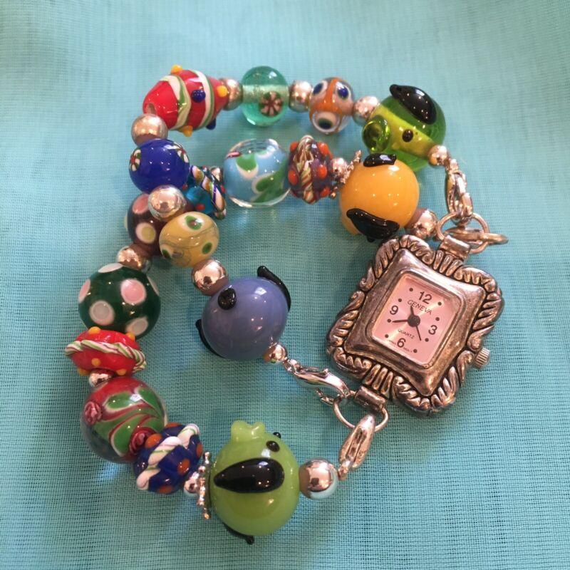 Art Glass Blown Glass Bead Geneva Watch Bracelet Double Stranded