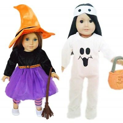 Witch Dress For American Girl Doll Clothes For 18 Inch TWO OUTFITS Halloween - Doll Clothes For Halloween