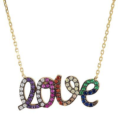 """'Love' Rainbow Cubic Zirconia Script Necklace in Gold-Plated Silver, 16"""" + 2"""""""