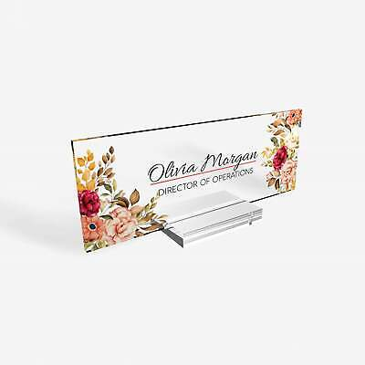 Personalized Desk Name Plate For Women Decor Sign Modern Office Acrylic And Teac