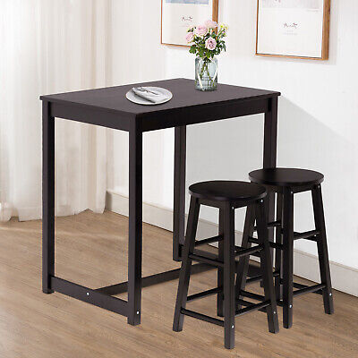 3 PCS Dining Table Set with Stool Pine Wood Pub Kitchen Furniture Black