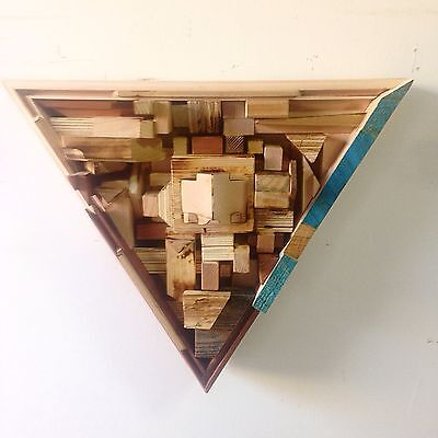 """Diffuser City's 12"""" Triangle WOOD acoustic sound diffuser panel 2D QRD type"""