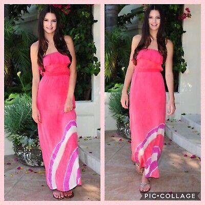Gypsy 05 Pink Tie Dye 100% Silk Ruffle Strapless Maxi Tube Dress Sz Small S - Silk Ruffle Tube Dress