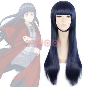 Hyuga Hinata Touma Kazusa Dark Blackish Blue Straight Long Cosplay Wig USA Ship