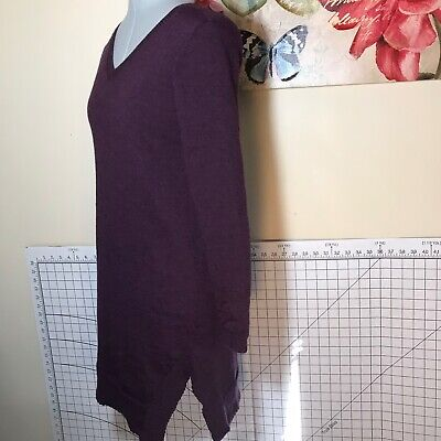Eileen Fisher Tunic Sweater Dress PP Petite XS Purple Merino Wool Asymmetrical