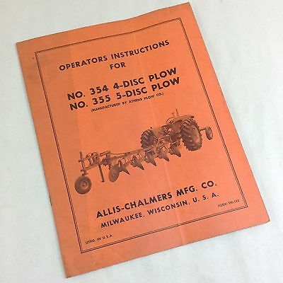 Allis Chalmers 354 4-disc 355 5-disc Plows Operators Instructions Manual Ac