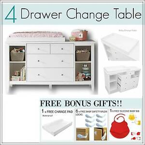 4 DRAWER WHITE or BROWN Baby Change Table Chest Dresser Cabinet Mount Kuring-gai Hornsby Area Preview