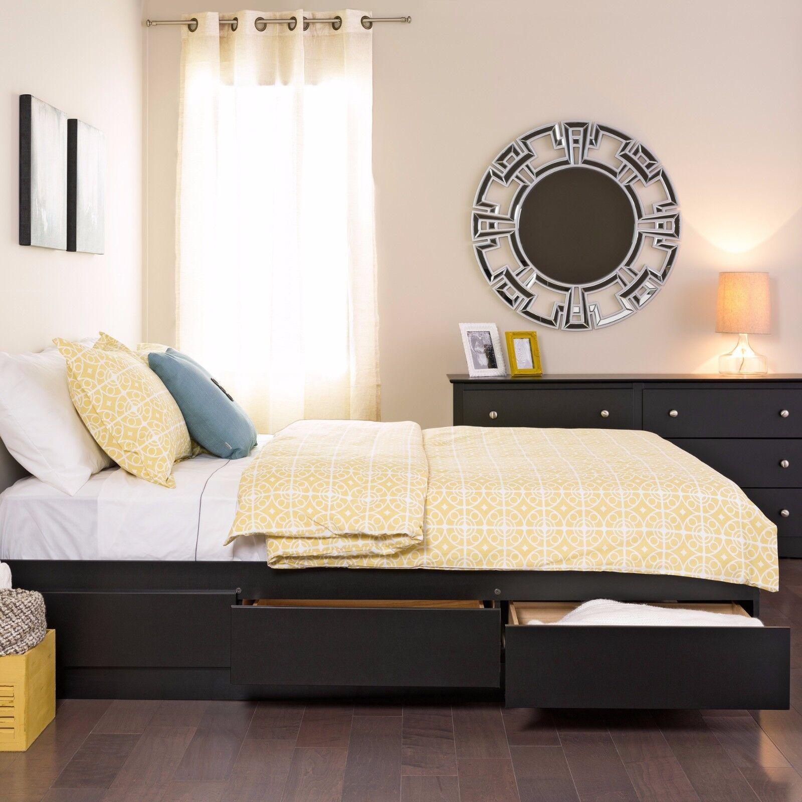 Platform Storage Bed Queen Size 6 Drawer Black Bedroom Furni