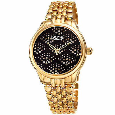 Women's Burgi BUR205YGB Swarovski Crystal Gold Tone Black Stainless Steel Watch