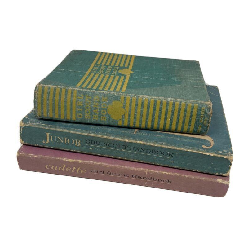Lot of 3 Vintage Girl Scout handbooks Cadette Junior 1940s 1960s