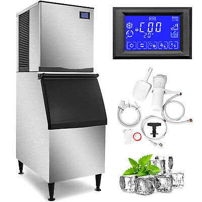 500lbs24h Commercial Ice Maker Machine Cafes 350lbs Storage Bin Digital Control